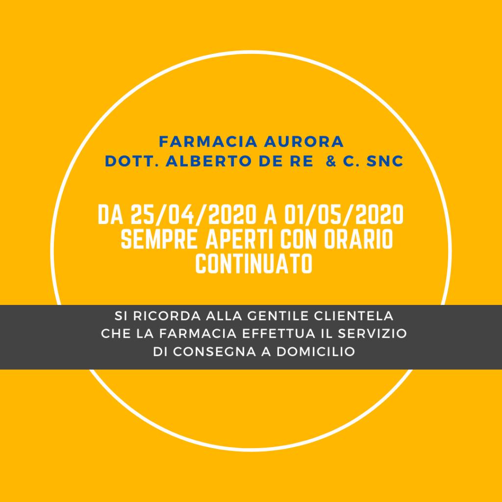 Turno Aprile 2020 Farmacia Aurora Udine